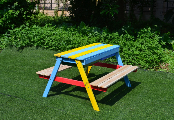 Children's Wooden Sandpit Bench with Basin