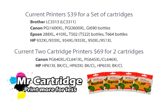 Five Ink Cartridges Compatible with Epson, Brother or Canon Printers incl. Delivery - Options for a Set of Cartridges for Current and New Printers