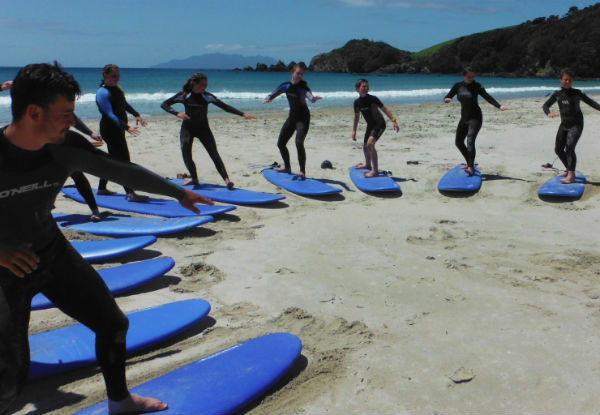 Two-Hour Surf Lesson incl. Board & Wetsuit Hire on Matakana Coast – Tawharanui - Options for Two People - Weekends Only