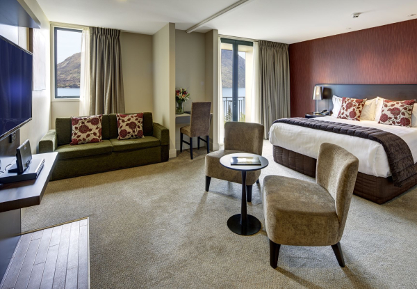 Luxury 4.5 Star Stay at Heritage Queenstown for 2 in a Non-Lake View Deluxe Room with Balcony incl 20% off all F&B, a Welcome Drink, Cooked Breakfast,  Early Check in & Late Checkout  -  Options for a Family Deluxe Room or Studio Suite Lakeview Available