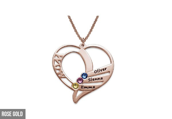 Engraved Family Members Birthstone Necklace in 925 Sterling Silver - Options for Gold, Rose Gold Plated & Two Necklaces (Additional Delivery Charges Apply)