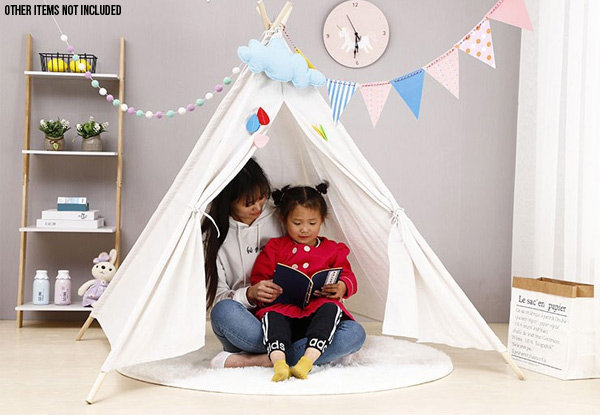 Kids Natural Cotton Teepee Play Tent