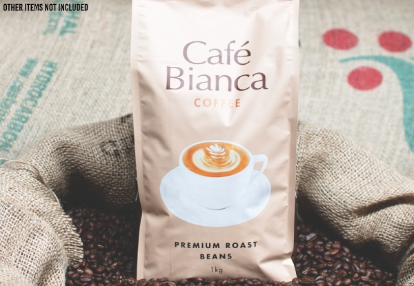 Two 1kg Bags of Café Bianchi Coffee Premium Roast Beans