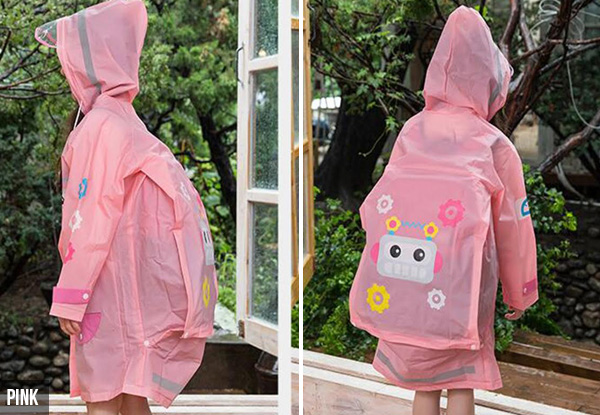 Kids Raincoat With Built-In Backpack Cover - Three Sizes & Colours Available with Free Delivery