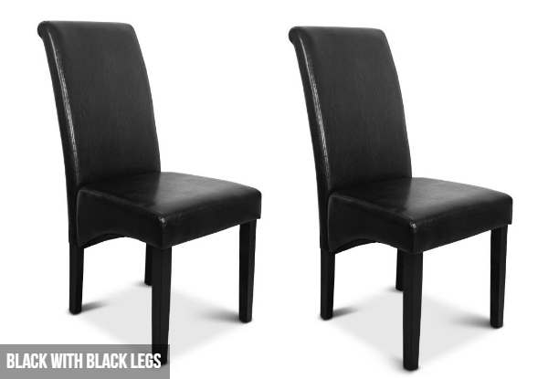 Two PU Leather Dining Chairs - Two Colours Available