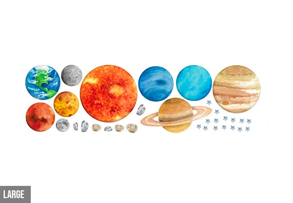 Nine Planets Wall Decal - Two Sizes & Option for Two-Pack Available
